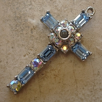 Octavia Stanhope Cross Pendant with Light Sapphire & Aurora Borealis Swarovski Crystals