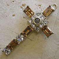 Octavia Stanhope Cross Pendant with Light Smoke Topaz Swarovski Crystals