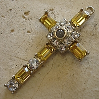 Octavia Stanhope Cross Pendant with Light Topaz Swarovski Crystals