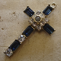 Octavia Stanhope Cross Pendant with Montana Blue Swarovski Crystals
