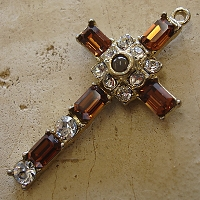 Octavia Stanhope Cross Pendant with Smoke Topaz Swarovski Crystals