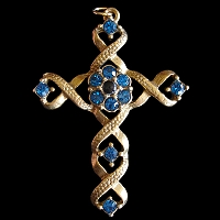 Ribbon Stanhope Cross Pendant with Capri Blue Swarovski Crystals