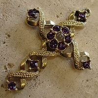 Ribbon Stanhope Cross Pendant with Amethyst Swarovski Crystals
