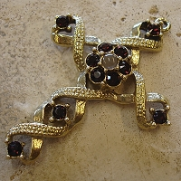 Ribbon Stanhope Cross Pendant with Burgundy Swarovski Crystals