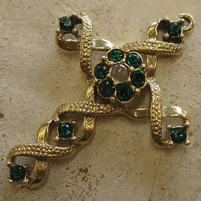 Ribbon Stanhope Cross Pendant with Emerald Swarovski Crystals