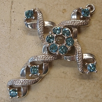 Ribbon Stanhope Cross Pendant with Aquamarine Swarovski Crystals