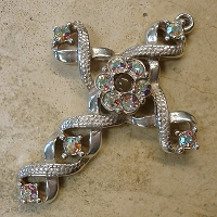 Ribbon Stanhope Cross Pendant with Aurora Borealis Swarovski Crystals
