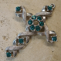 Ribbon Stanhope Cross Pendant with Blue Zircon Swarovski Crystals