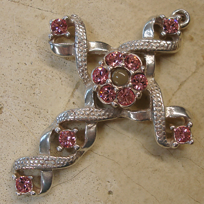Ribbon Stanhope Cross Pendant with Light Rose Swarovski Crystals