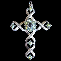Ribbon Cross Pendant with Peridot Aurora Borealis Swarovski Crystals