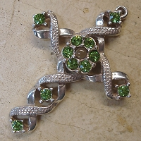 Ribbon Stanhope Cross Pendant with Peridot Swarovski Crystals