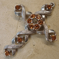 Ribbon Stanhope Cross Pendant with Topaz Swarovski Crystals