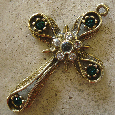 Star & Band Stanhope Cross Pendant with Emerald Swarovski Crystals