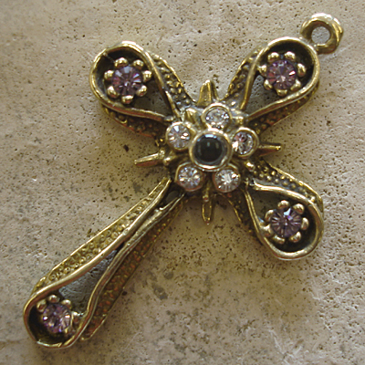 Star & Band Stanhope Cross Pendant with Light Amethyst Swarovski Crystals