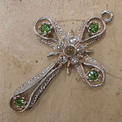 Star & Band Stanhope Cross Pendant with Peridot Swarovski Crystals
