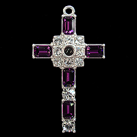 Grace Cross Pendant with Amethyst Swarovski Crystal Rhinestones