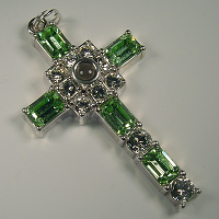 Grace Cross Pendant with Peridot Swarovski Crystal Rhinestones