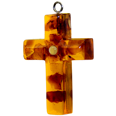 Baltic Amber Cross Pendant with Lord's Prayer Stanhope Photo