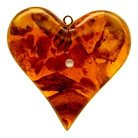 Baltic Amber Large Heart Pendant with Stanhope Photo