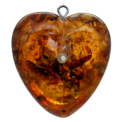 Baltic Amber Puff Heart Pendant with Stanhope Photo