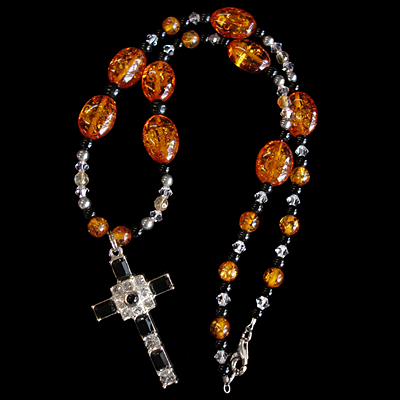 Amber & Onyx Necklace with Jet Black Sterling Grace Cross