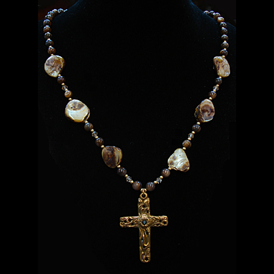 Natural Amber Shell Necklace with Vine Stanhope Cross