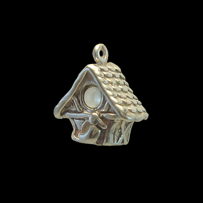 Sterling Silver Love Bird Charm Birdhouse with Stanhope View