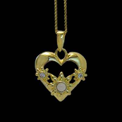 Cubic Zirconia Stanhope Heart Necklace with peephole view you can customize with your favorite photo