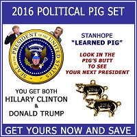2016 US Presidential Election Candidate Stanhope Political Pig 2-Piece Set