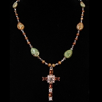 Jade Necklace & Smoke Topaz Sterling Octavia Stanhope Cross