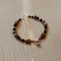 Smoke Topaz, Jade & Pietersite Charm Bracelet with Personalized Photo Stanhope Charms