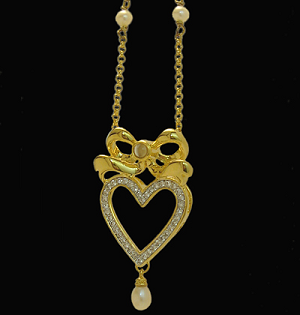 NEW! Pearl & Cubic Zirconia Stanhope Heart Necklace